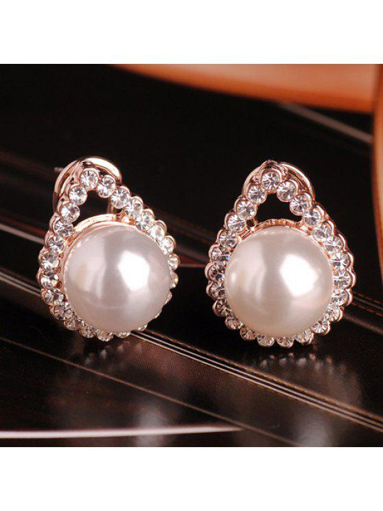 online Pair of Chic Faux Pearl and Rhinestone Embellished Earrings For Women - PEARL WHITE