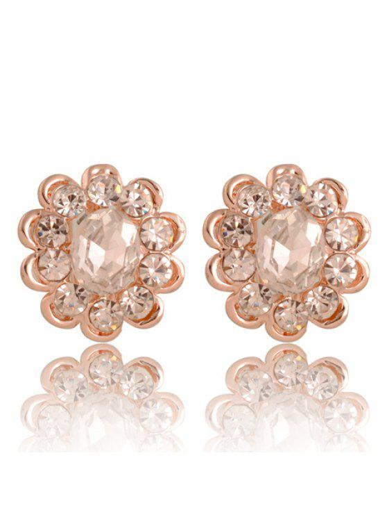hot Pair of Chic Gemstone Embellished Women's Flower Shape Earrings - WHITE