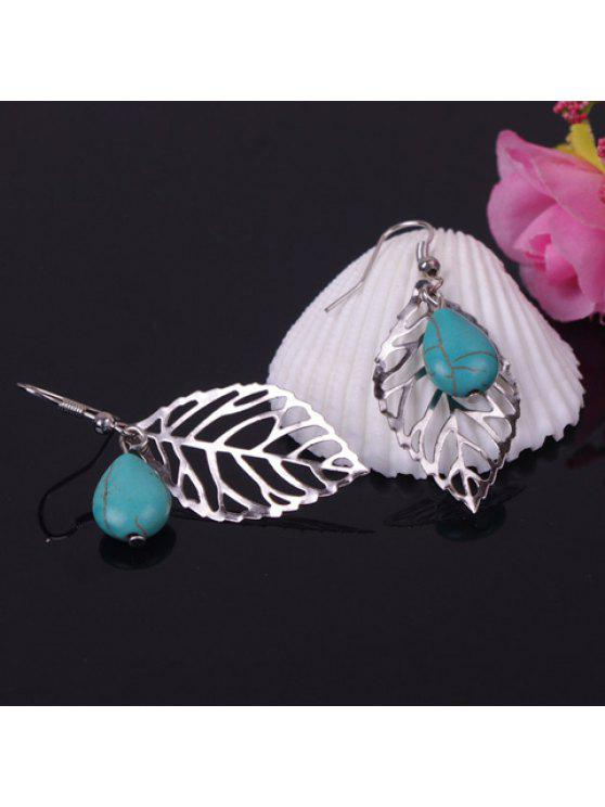 sale Pair of Chic Gemstone Embellished Ring Leaf Shape Women's Earrings - SILVER