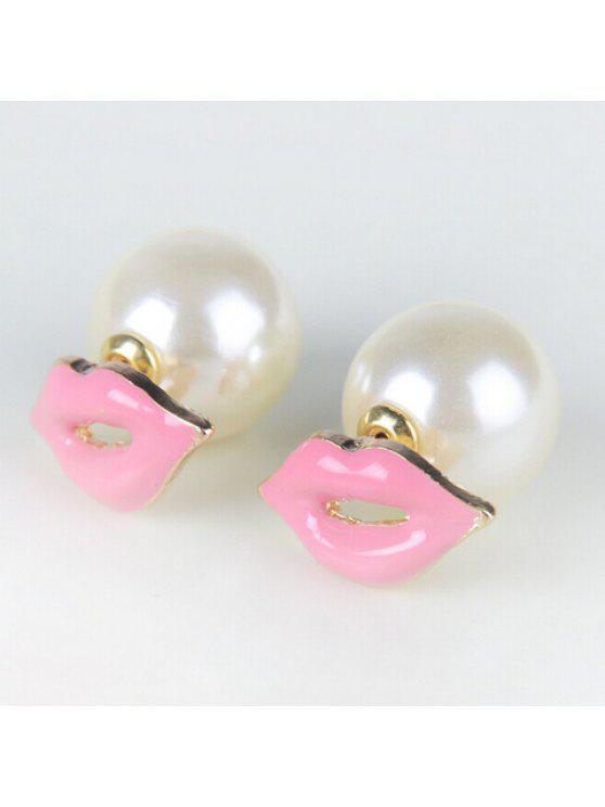 best Pair of Trendy Faux Pearl Embellished Lip Shape Earrings For Women - PINK