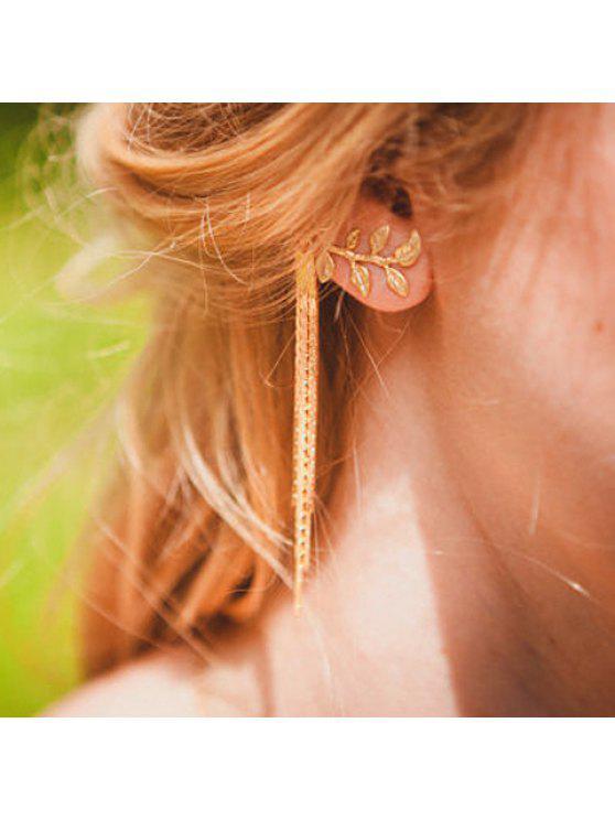fashion ONE PIECE Chic Women's Leaf Tassel Earring - RANDOM COLOR PATTERN