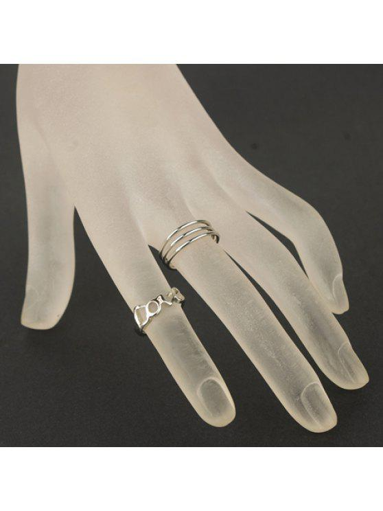 fancy 4Pieces of Chic Women's Letter Round Rings - SILVER