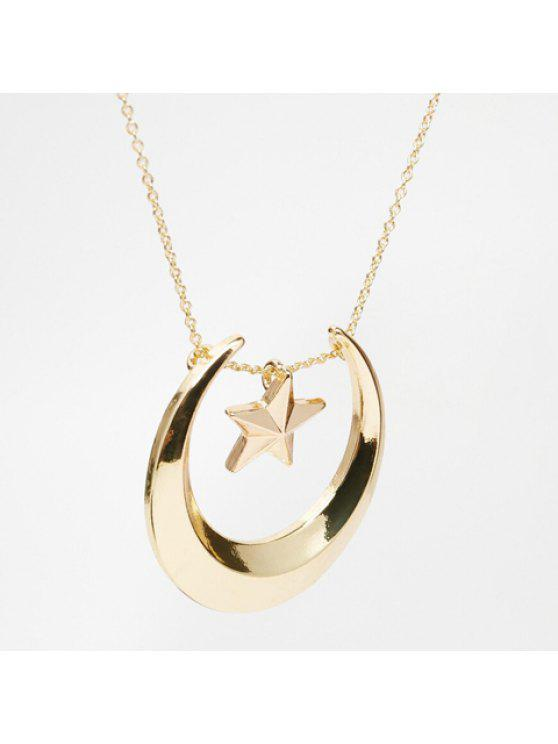 womens Trendy Solid Color Moon and Star Embellished Necklace For Women - COLOR ASSORTED