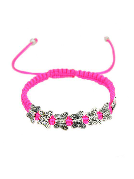 lady Chic Women's Butterfly Decorated Rope Weaved Bracelet - ROSE MADDER