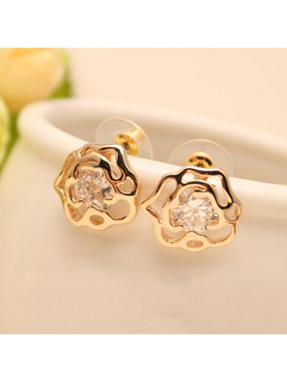 shops Pair of Women's Shining Gemstone Embellished Rose Shape Openwork Earrings - COLOR ASSORTED