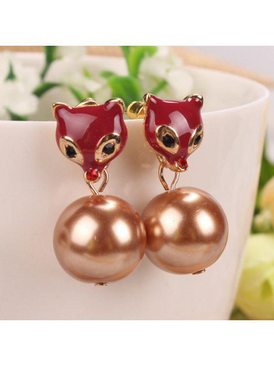 shops Pair of Sweet Women's Rhinestone Ball Beads Pendant Fox Earrings - COLOR ASSORTED