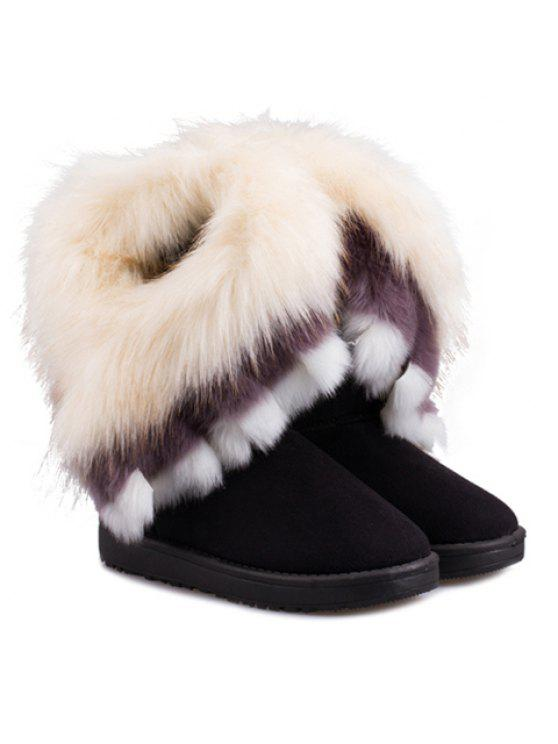 latest Faux Fur Snow Boots - BLACK 39