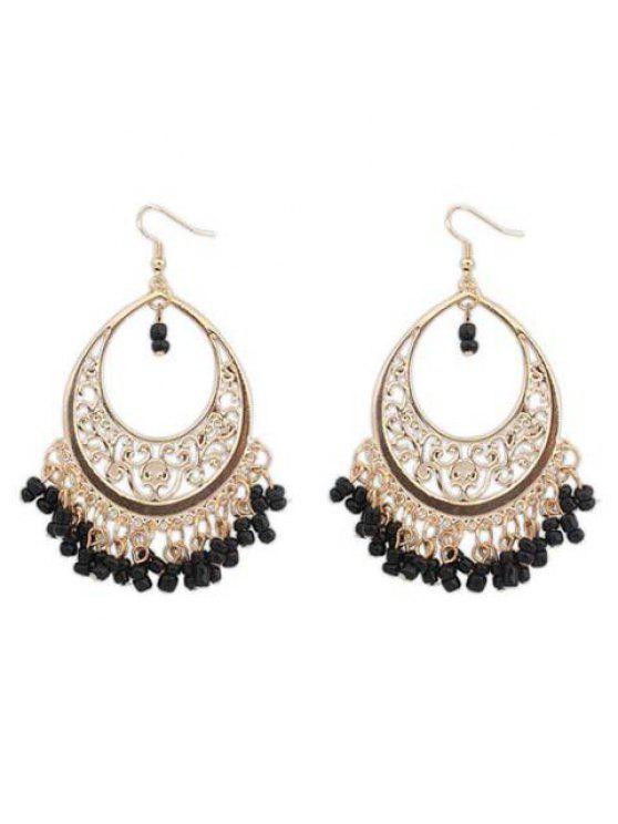 online Pair of Women's Glamourous Beads Embellished Round Shape Openwork Earrings - BLACK