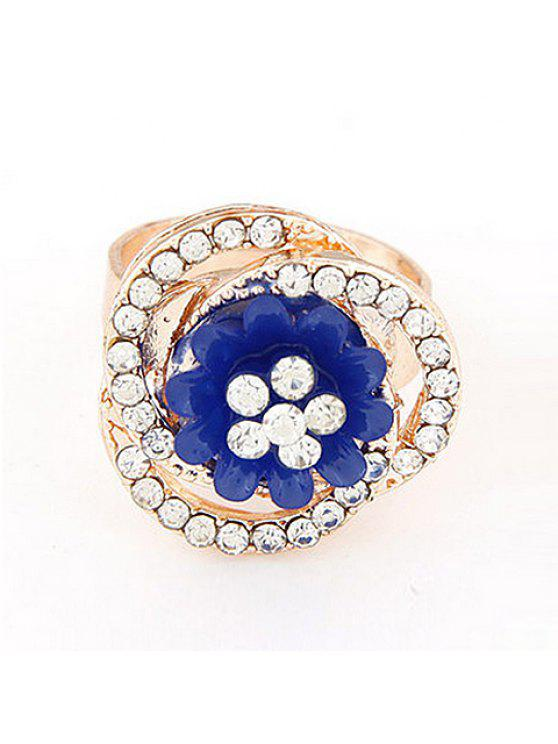 new Glamourous Women's Rhinestone Embellished Flower Shape Ring - COLOR ASSORTED ONE-SIZE
