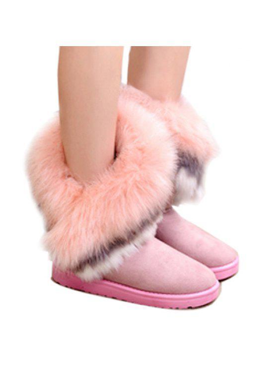 fancy Faux Fur Snow Boots - PINK 38