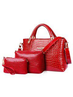 Trendy Crocodile Print And Patent Leather Design Women's Tote Bag - Red