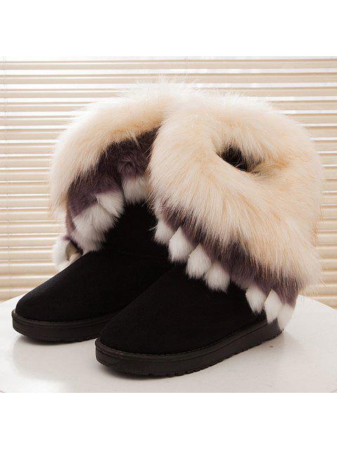 shops Faux Fur Snow Boots - BLACK 38 Mobile