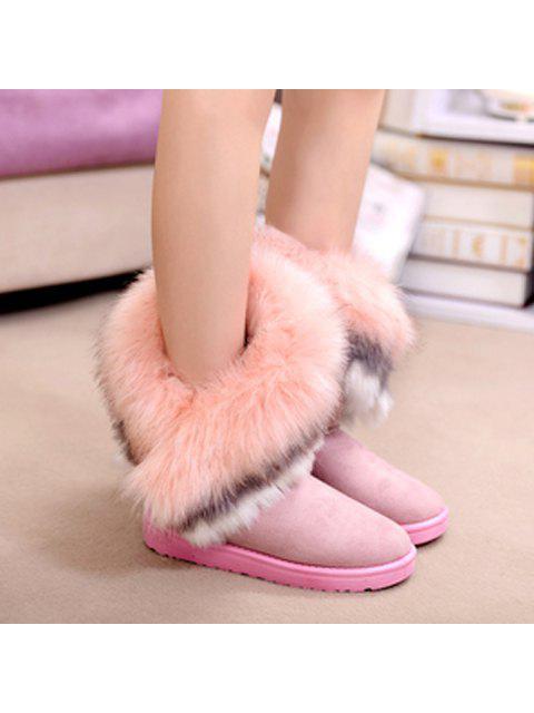 unique Faux Fur Snow Boots - PINK 39 Mobile
