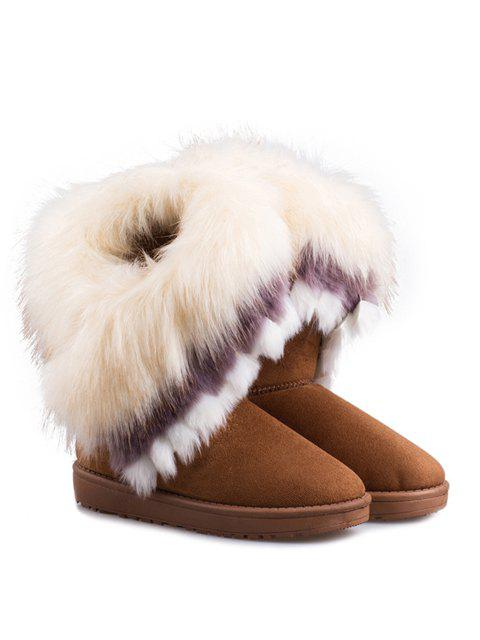 affordable Faux Fur Snow Boots - YELLOW 36 Mobile