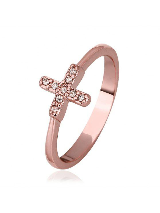 new Charming Plated Rose Gold Rhinestone Embellished Cross Pattern Women's Ring