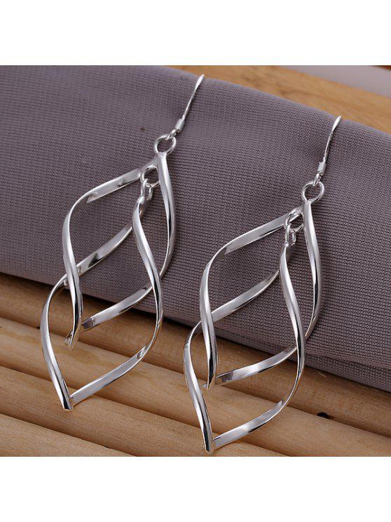 unique Pair Of Women's Stylish Double Banana Shape Earrings - SILVER 6.9CM×2.1CM