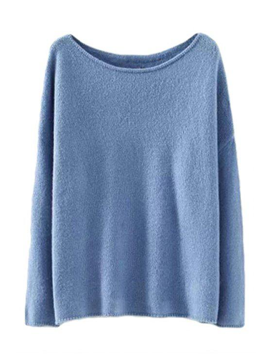 new Solid Color Sweater For Women - BLUE S