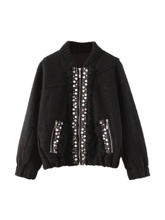 latest Rhinestone Embellished Long Sleeve Coat For Women - BLACK L