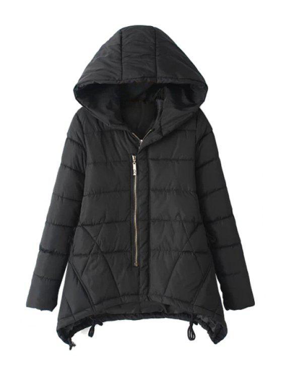 unique Asymmetrical Long Sleeve Coat For Women - BLACK 2XL