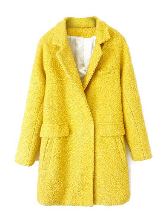 ladies Solid Color Long Sleeve Coat For Women - YELLOW L