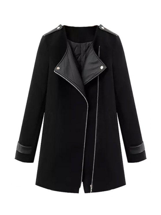 best Splicing Asymmetrical Coat For Women - BLACK S