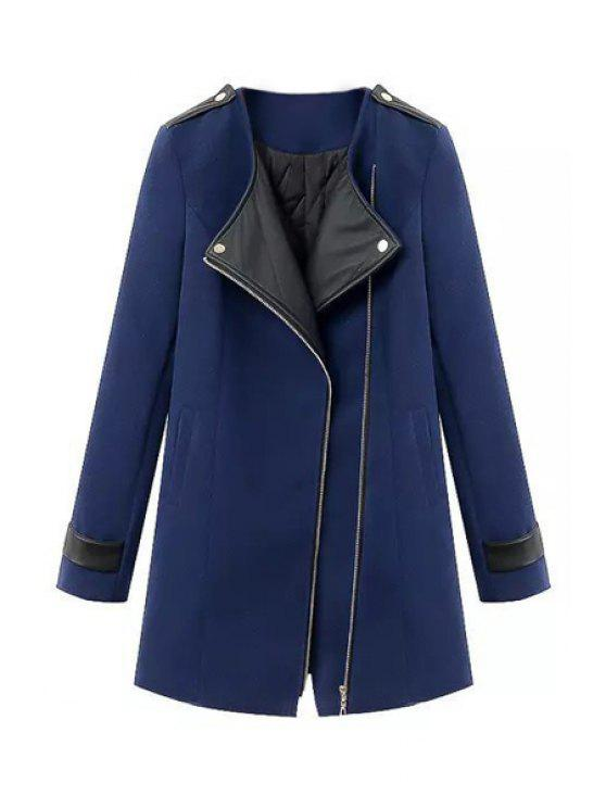 outfits Splicing Asymmetrical Coat For Women - SAPPHIRE BLUE M