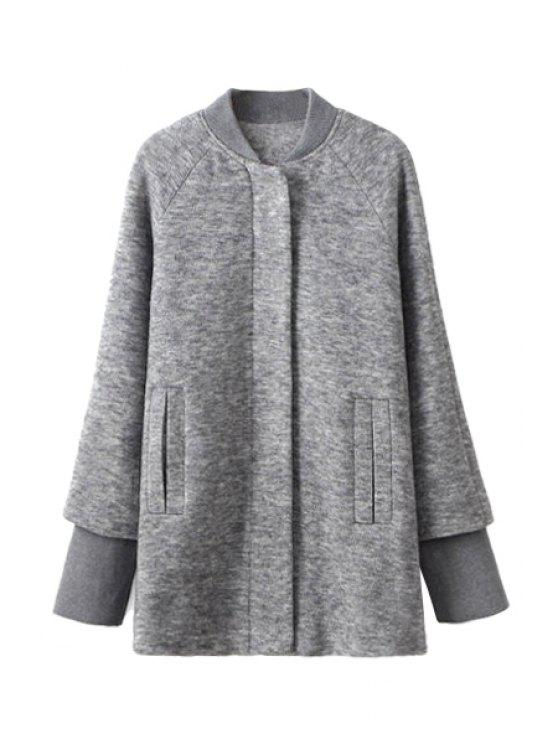 women Splicing Long Sleeve Coat For Women - GRAY M