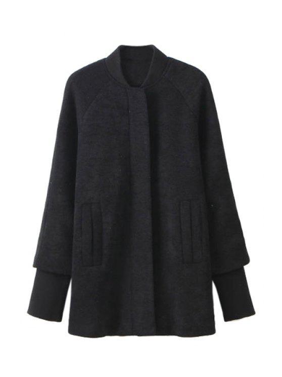 ladies Splicing Long Sleeve Coat For Women - BLACK S