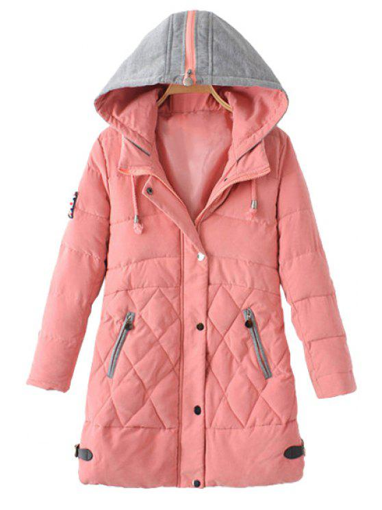 unique Zipper Draw Cord Long Sleeve Coat For Women - PINK L