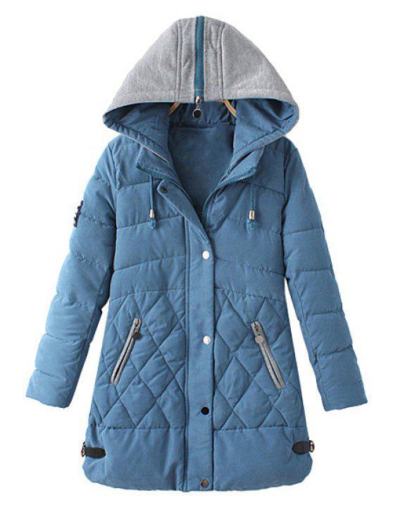 ladies Zipper Draw Cord Long Sleeve Coat For Women - LIGHT BLUE XL