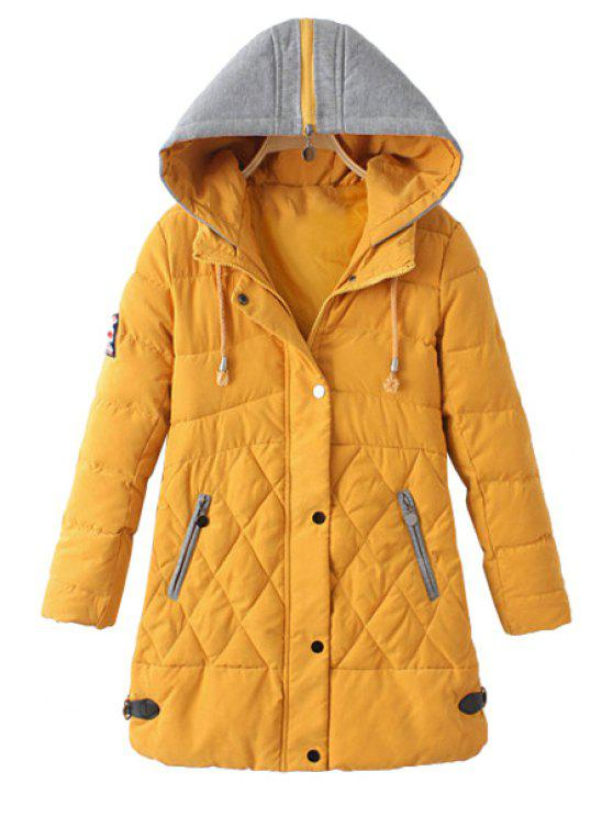 shop Zipper Draw Cord Long Sleeve Coat For Women - YELLOW L