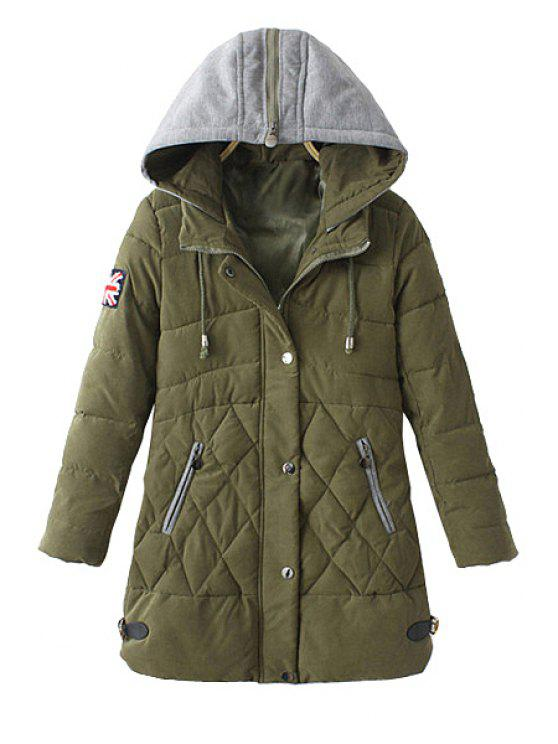 trendy Zipper Draw Cord Long Sleeve Coat For Women - ARMY GREEN L
