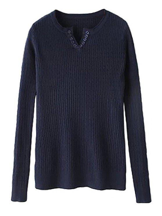 hot Solid Color Long Sleeve Sweater For Women - PURPLISH BLUE ONE SIZE(FIT SIZE XS TO M)
