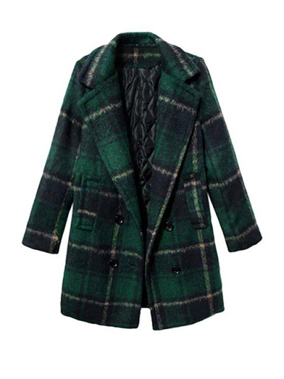 online Tartan Long Sleeve Coat - BLACKISH GREEN XL