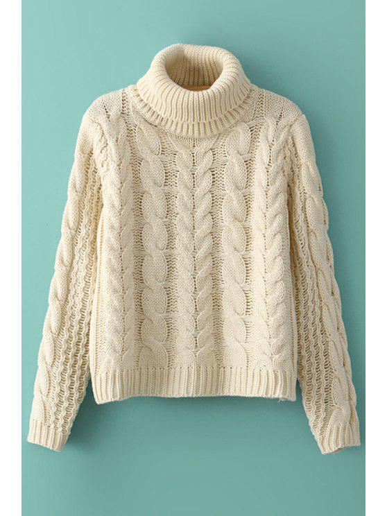 best Turtle Neck Plait Long Sleeve Sweater - AS THE PICTURE ONE SIZE(FIT SIZE XS TO M)