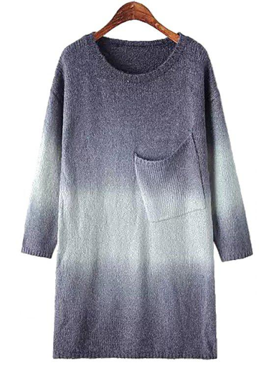 new Pocket Gradient Ramp Long Sleeve Dress - BLUE ONE SIZE(FIT SIZE XS TO M)