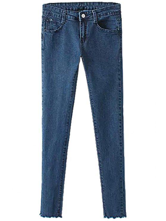 outfit Straight Leg Rippled Edge Jeans - PURPLISH BLUE 27