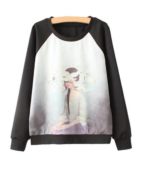shop Figure Printed Long Sleeve Sweatshirt - BLACK S