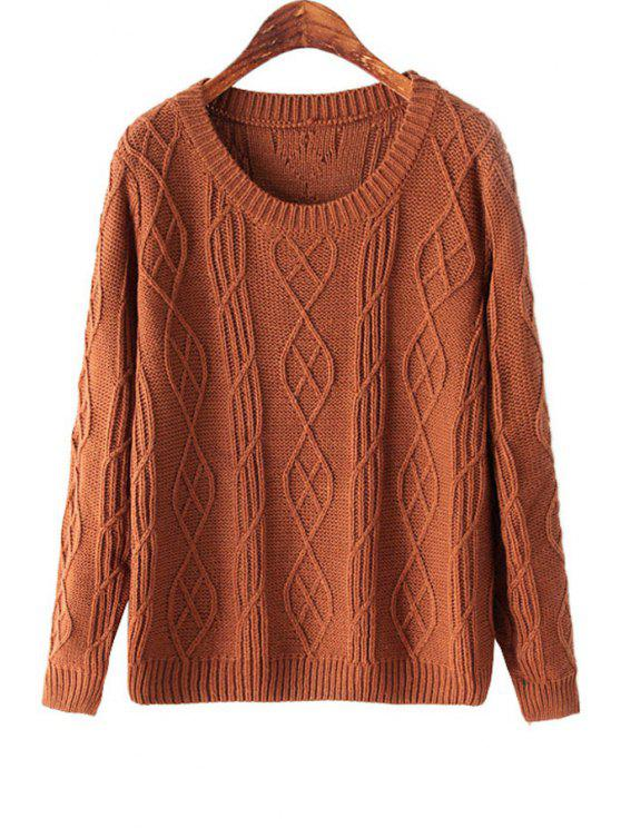 women Solid Color Long Sleeve Cable-Knit Sweater - COFFEE ONE SIZE(FIT SIZE XS TO M)