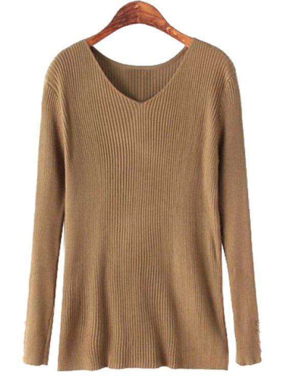 online Solid Color V-Neck Long Sleeve Knitwear - KHAKI ONE SIZE(FIT SIZE XS TO M)