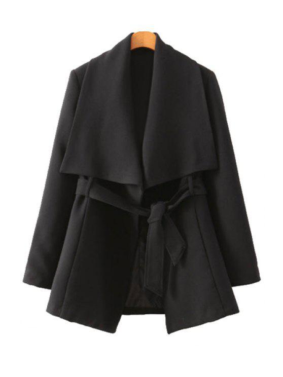 best Solid Color Long Sleeve Belt Coat - BLACK L