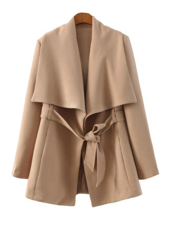 shop Solid Color Long Sleeve Belt Coat - KHAKI L