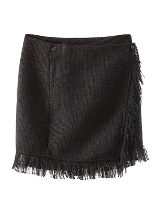 ladies Black Fringe Splicing Straight Skirt - BLACK S