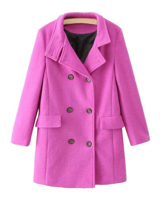 trendy Solid Color Lapel Long Sleeve Coat - PLUM L