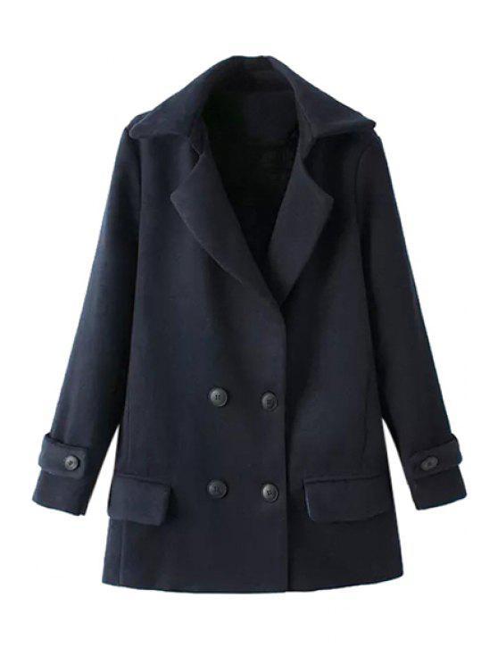 chic Solid Color Long Sleeve Lapel Coat - CADETBLUE L