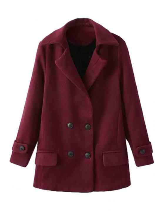 unique Solid Color Long Sleeve Lapel Coat - DARK RED L