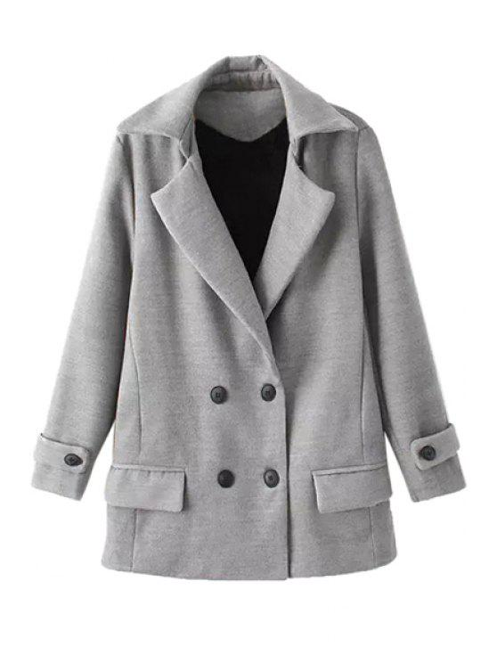 affordable Solid Color Long Sleeve Lapel Coat - GRAY L