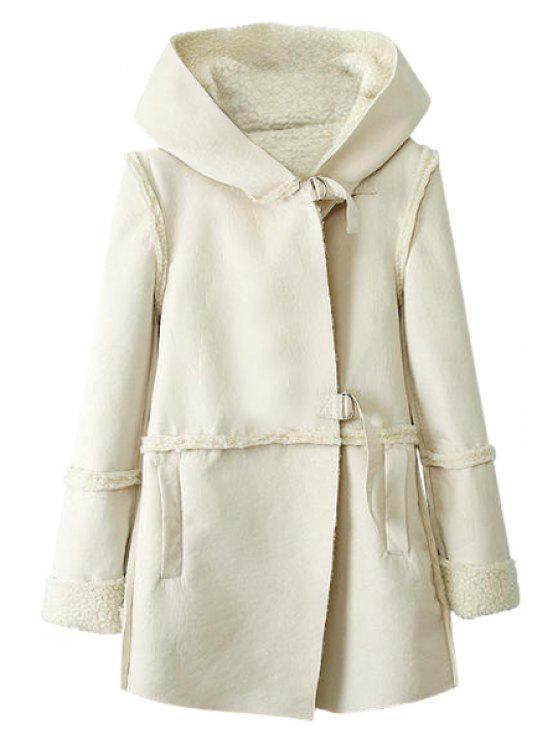 buy Lamb Wool Splicing Long Sleeve Coat - WHITE M
