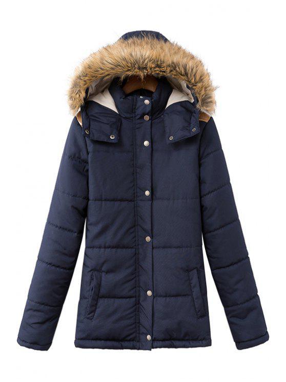 unique Solid Color Long Sleeve Faux Fur Splicing Coat - CADETBLUE S