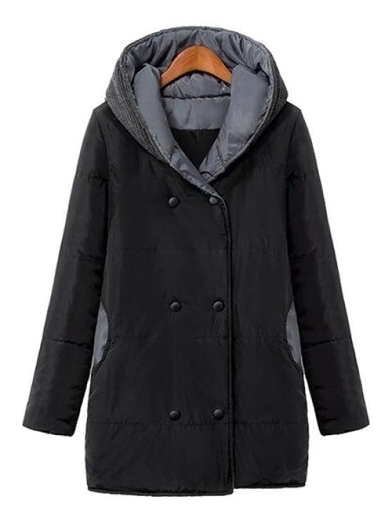 best Color Block Hooded Long Sleeve Coat - BLACK S